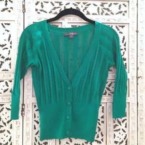Forever 21 knit green 3/4 sleeve cardigan | S